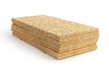 Stack of oriented strand board isolated on a white background. 3