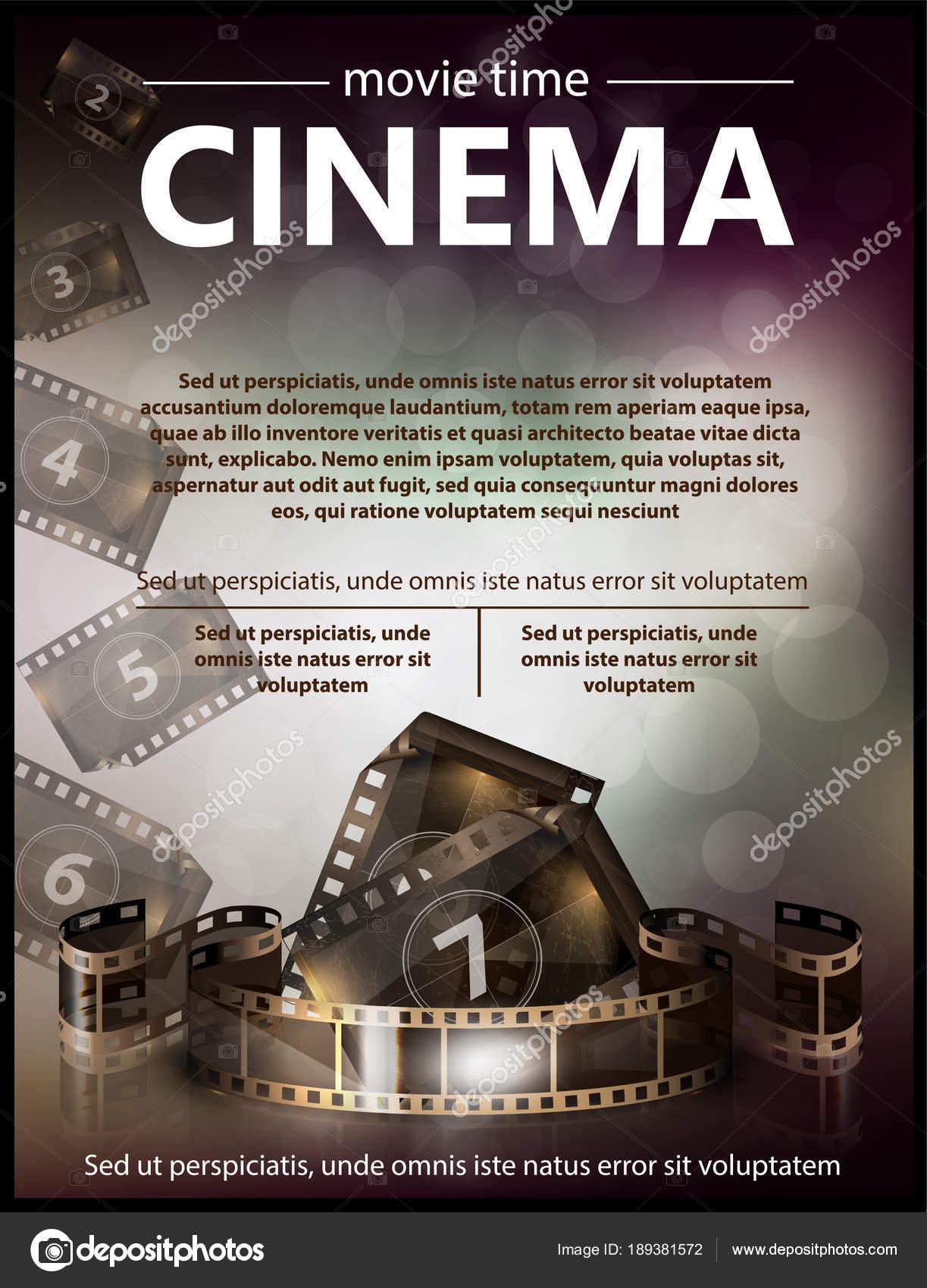 Cinema Movie Vector Poster Design Template Stock Vector