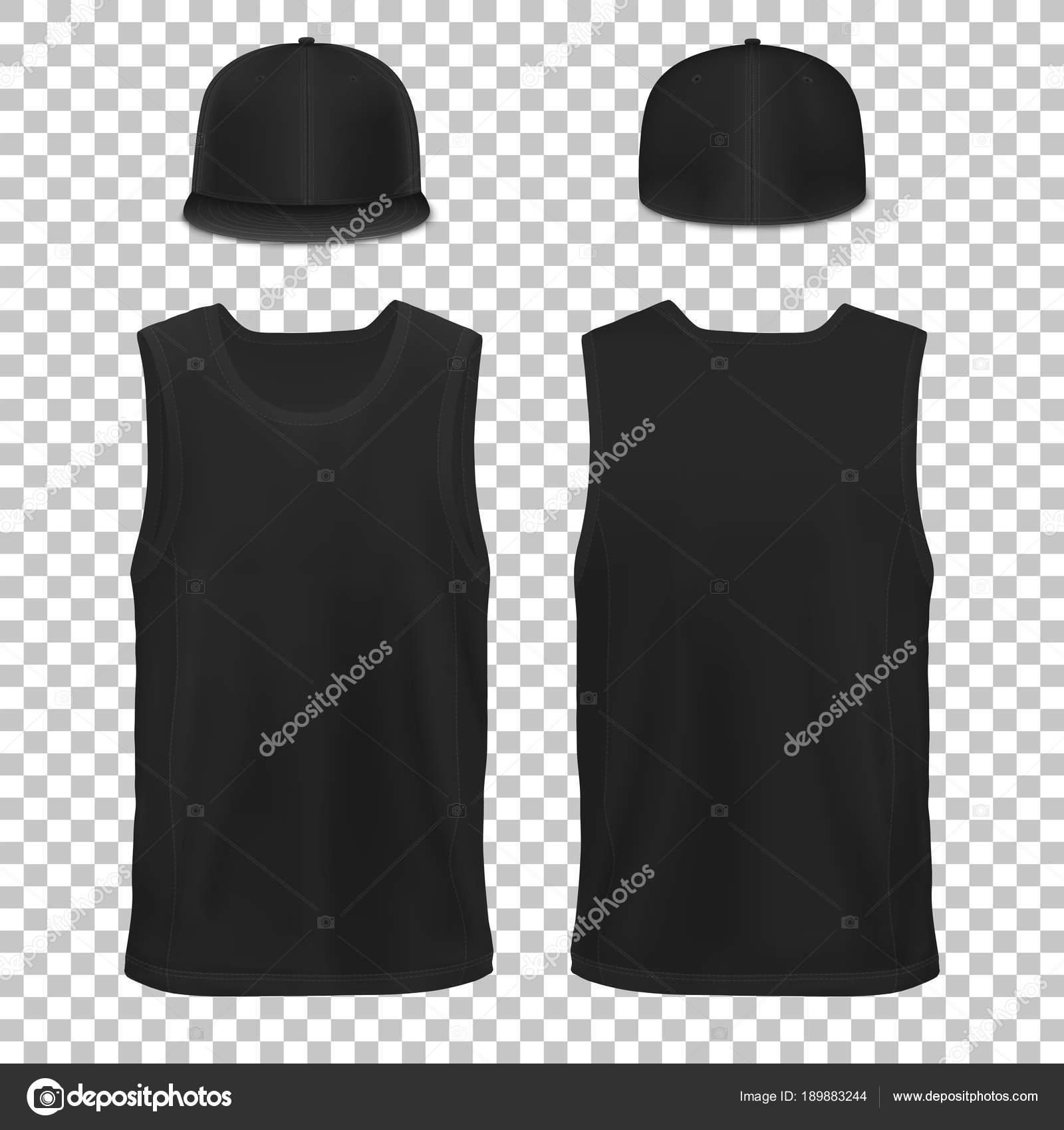 Vector Mock Up Black Set Clothes Sleeveless Shirt Cap Man Woman