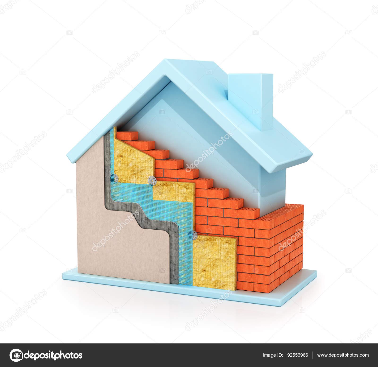 Haus mit Wärmedämmung der Wände Bau von Gebäuden. 3D illustration ...
