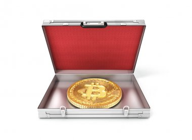 bitcoin in an open suitcase.3d illustration