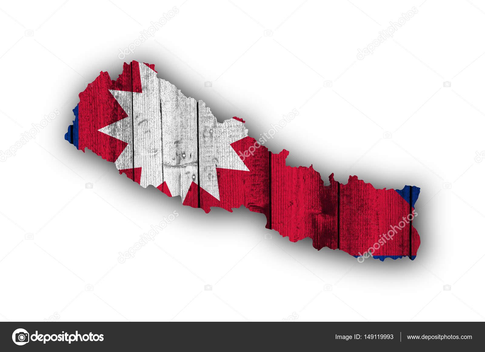 Map and flag of Nepal on weathered wood — Stock Photo © lantapix ...