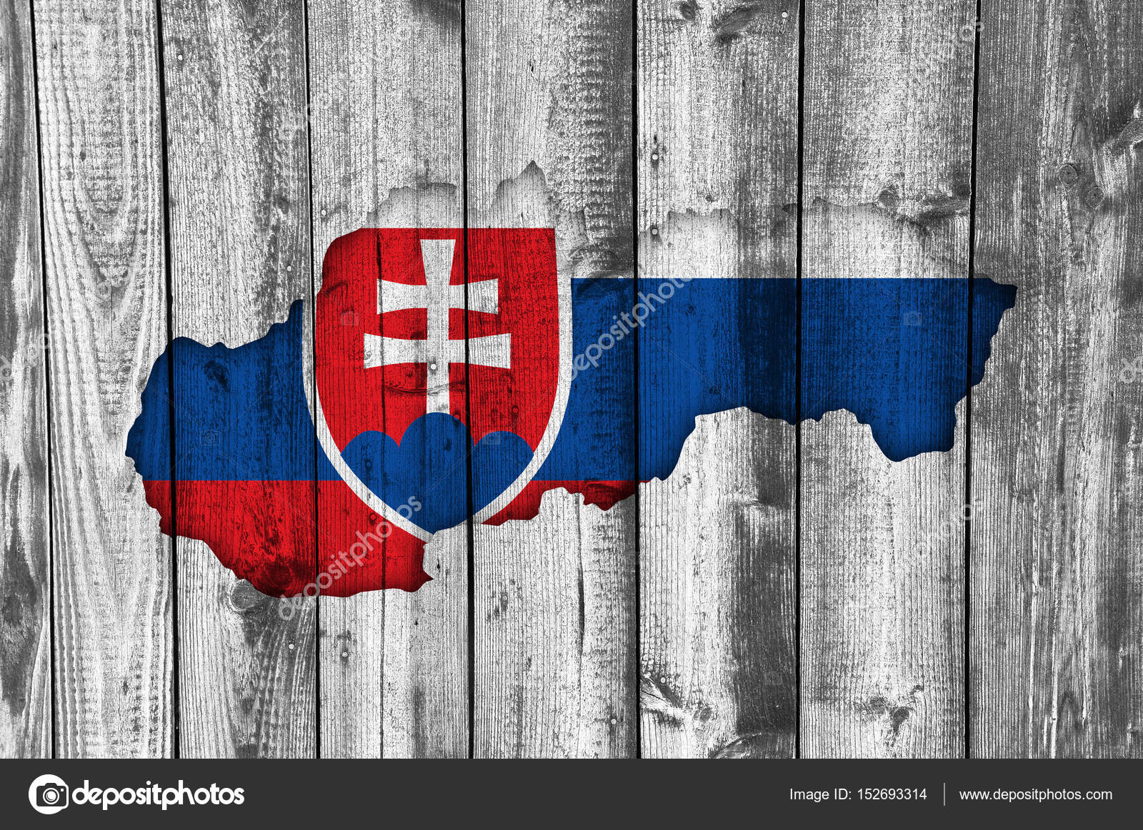 地図と風化した木のスロバキアの...