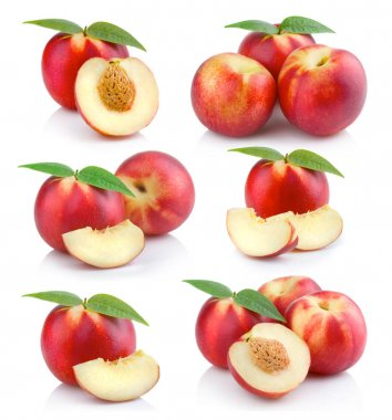 Set of ripe peach (nectarine) fruits with slices isolated on whi