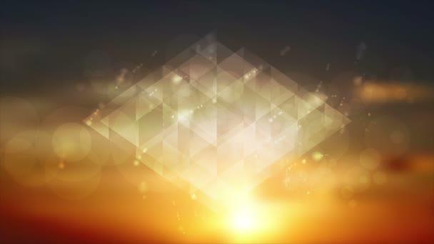 Abstraktní lesklé šumivé trojúhelníky na západu slunce na obloze