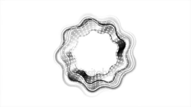 Lesklý černý vlnitý kroužek logo video animace