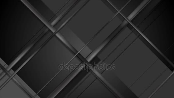 Černé geometrické lesklé proužky video animace