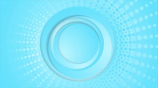 Cyan blue circles and halftone beams video animation