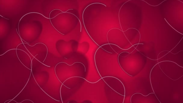 Abstract bright red pink hearts video animation