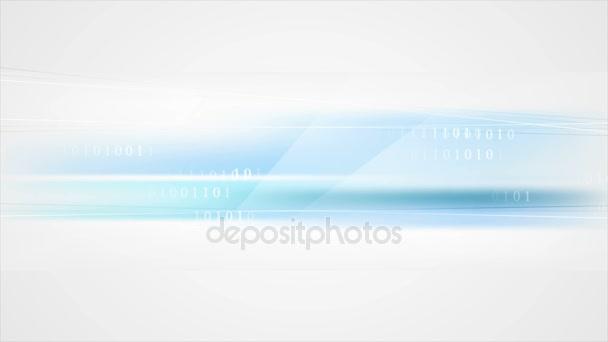 Binární systém modrý kód tech video animace