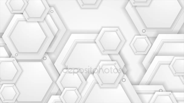 Bílá a šedá tech video animace s šestiúhelníky