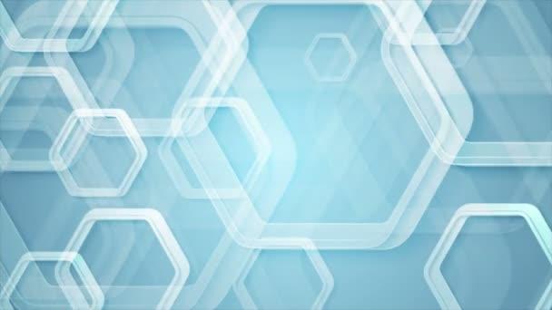 abstrakte blaue geometrische Videoanimation mit Sechsecken