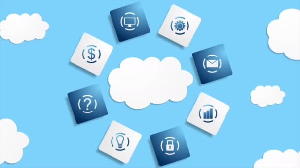Server Wolken Datenbank abstrakte Technologie Videoanimation