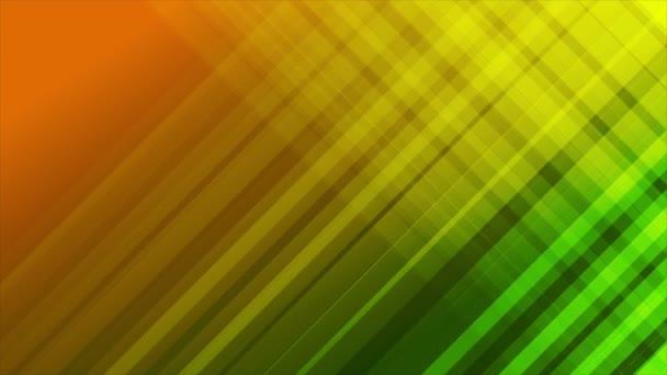 Zelené a oranžové diagonální pruhy abstraktní video animace