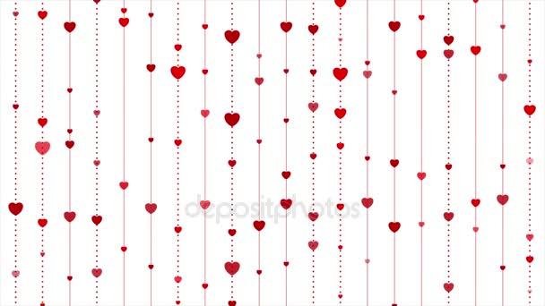 Červené srdce abstraktní St Valentýn video animace
