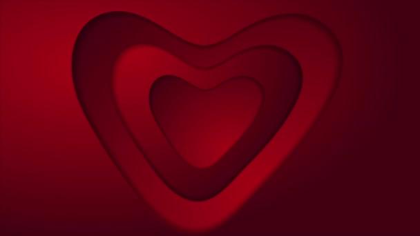 Abstraktní červené srdce St Valentýn video animace