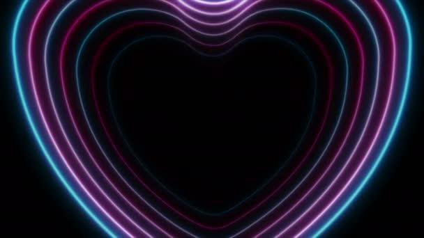 Kék lila neon izzó lézer szív videó animáció