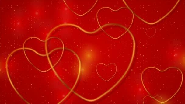 Arany csillogó szívek és pontok piros háttér videó animáció