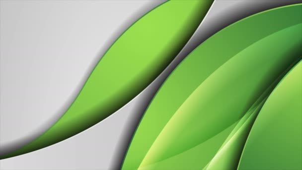 Green and grey abstract glossy waves corporate video animation