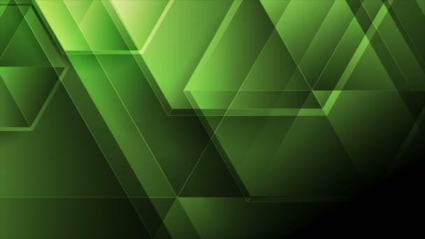 Zöld elvont tech mozgás háttér fényes poligonok
