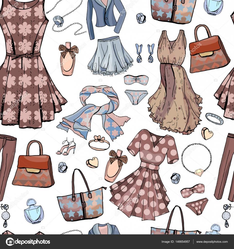 Patrón sin fisuras con mujer vestidos, ropa interior, sujetador ...