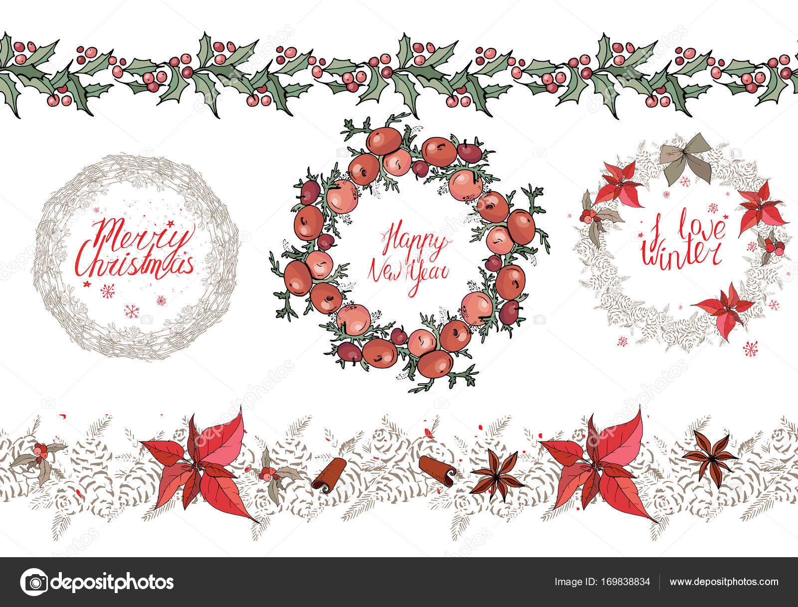 Christmas Set With Festive Elements Calligraphy Phrases Hand Drawn