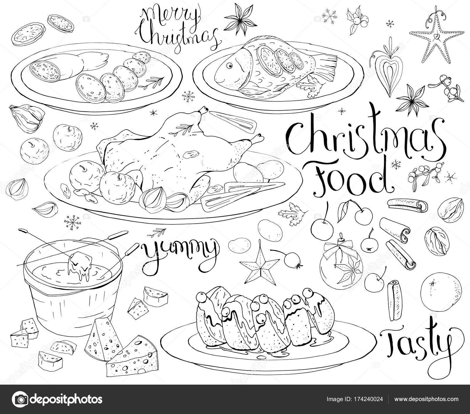 Sertie Repas Noël Traditionnel Isolé Sur Blanc Noir Blanc