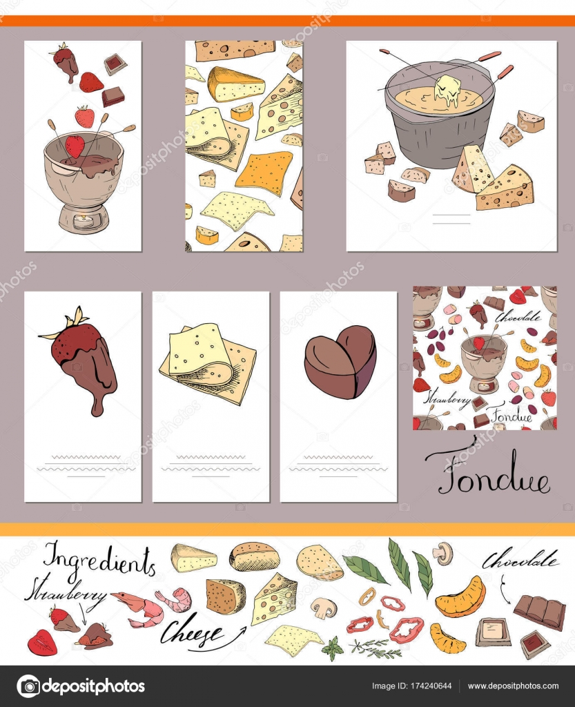 Set Of Different Cards With Traditional Cheese And Chocolate Fondue Template For Season Festive Design Greeting Cardsinvitations Decoration