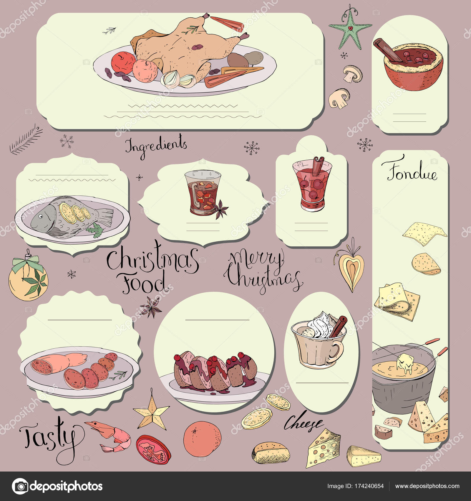 Set Different Cards Traditional Cheese Chocolate Fondue Template