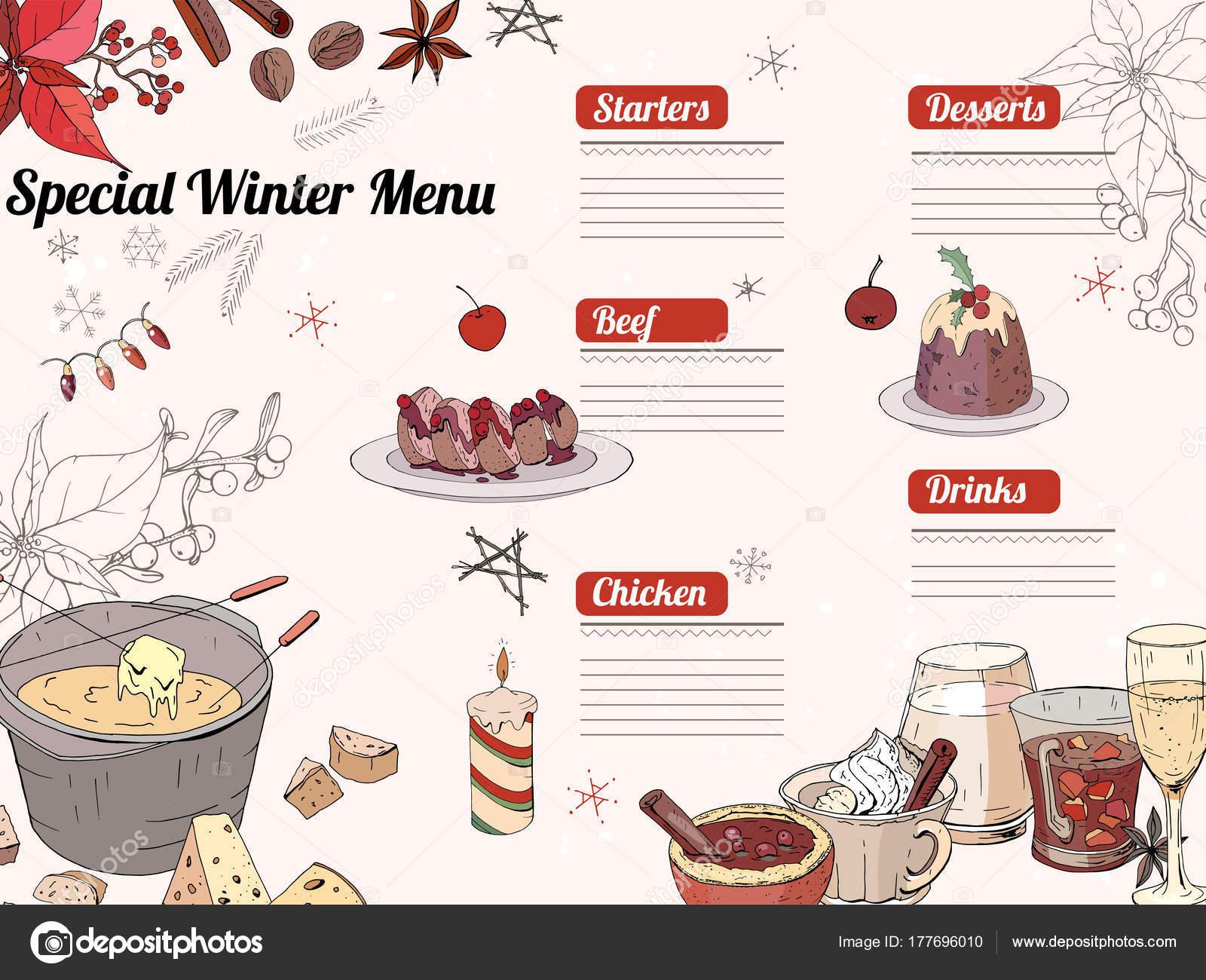 冬のシーズンのレストラン カフェのメニュー クリスマスの伝統的な食べ物