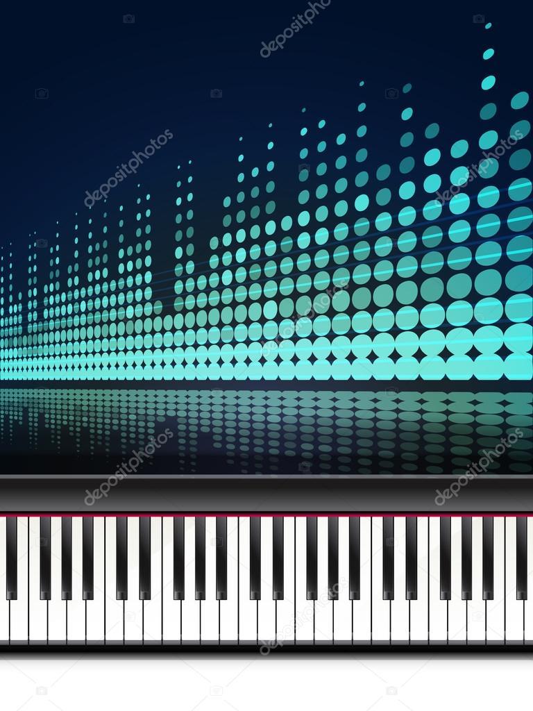 teclado de piano y ecualizador. Vector ilustración de plantilla de ...