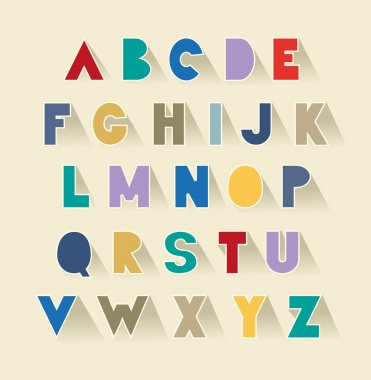 retro alphabet set with shadows. extra bold fat capital letters