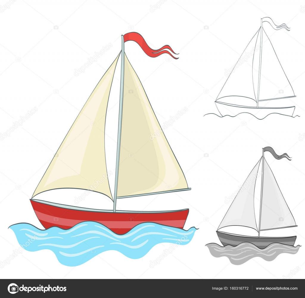 Barca A Vela Di Disegno Con La Versione Da Colorare E In Scala Di