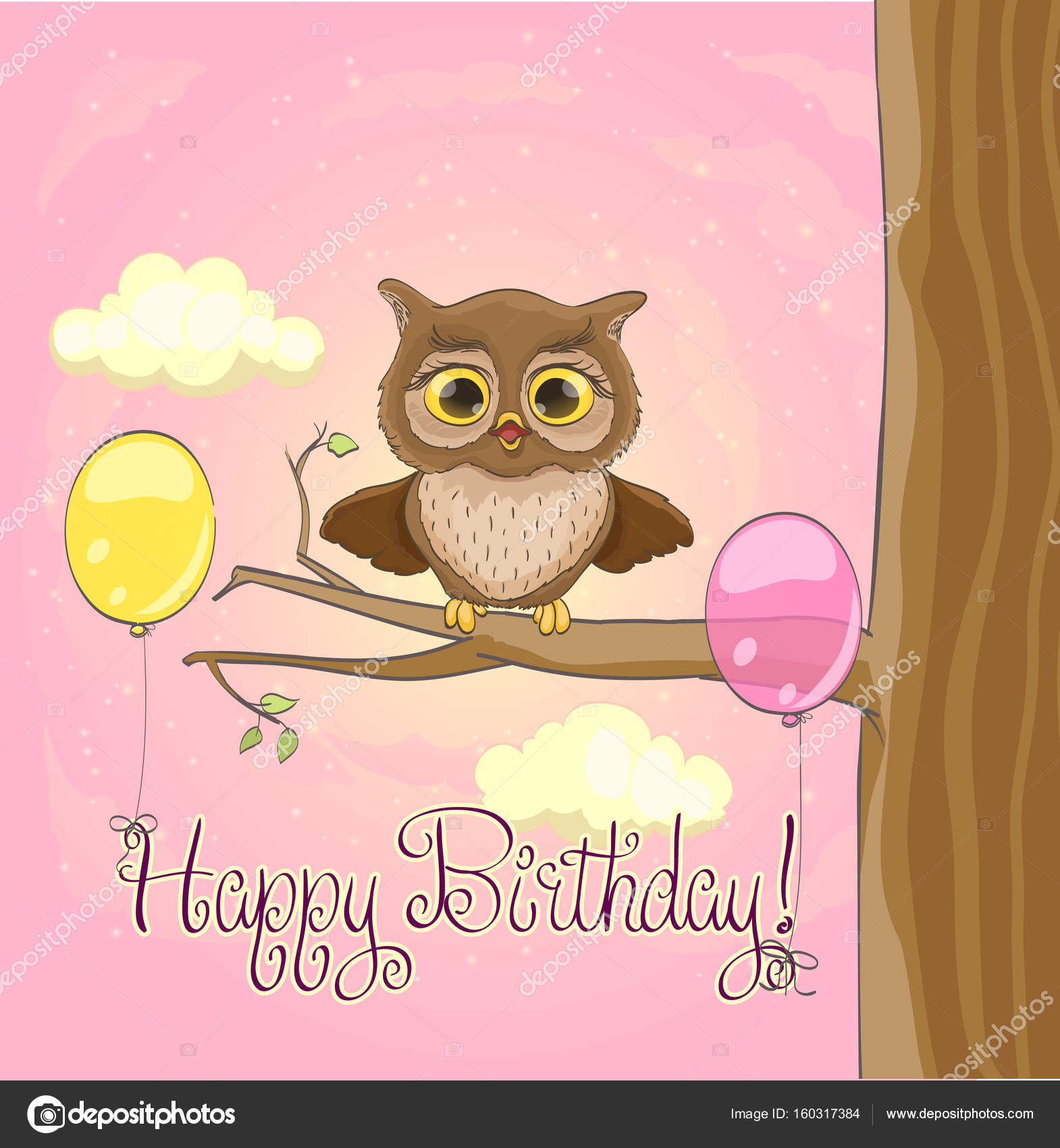 Cute owl balloons pink sky and clouds Happy birthday greeting