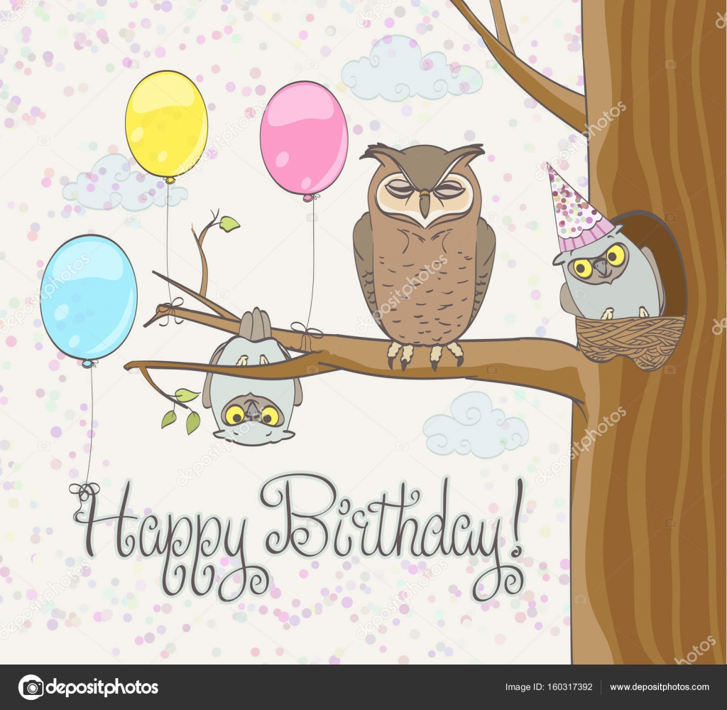 Happy Birthday Greeting Card With Funny Owls Family Balloons