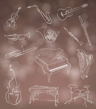 Set of classical musical instruments made in abstract hand drawn