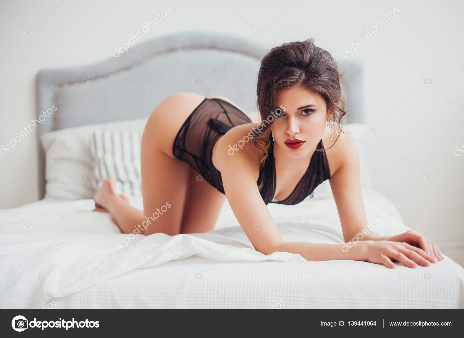 In lingerie photo posing woman