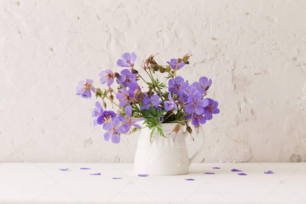 flowers in jug on white background