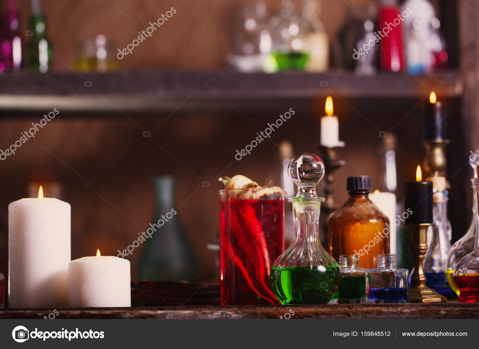 Magic potion, ancient books and candles — Stock Photo