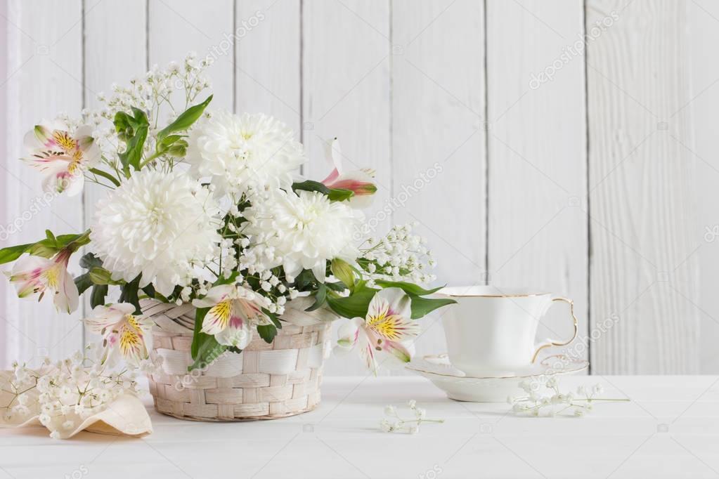 chrysanthemum in basket on white background