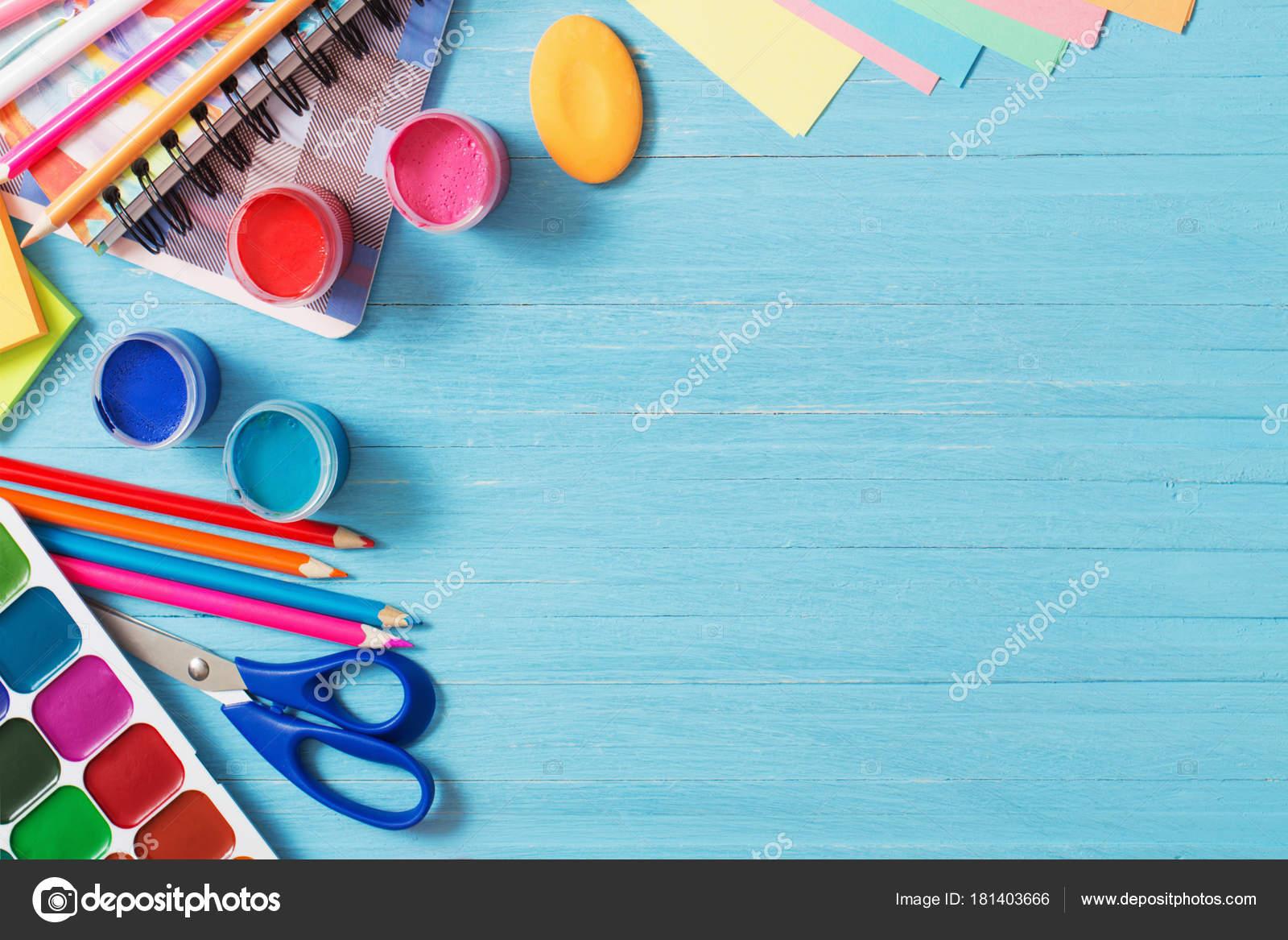 Fondo Utiles Escolares Vector: Colección De útiles Escolares