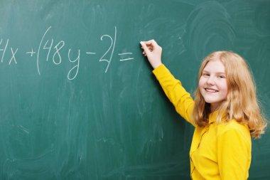A girl at the blackboard in a mathematics class