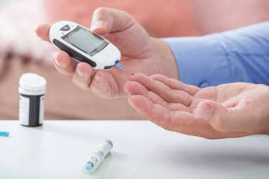 medicine, diabetes, glycemia, health care and people concept - c