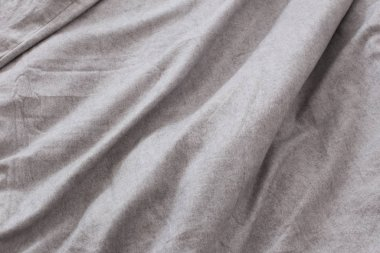 background from  gray linen bed sheet surface
