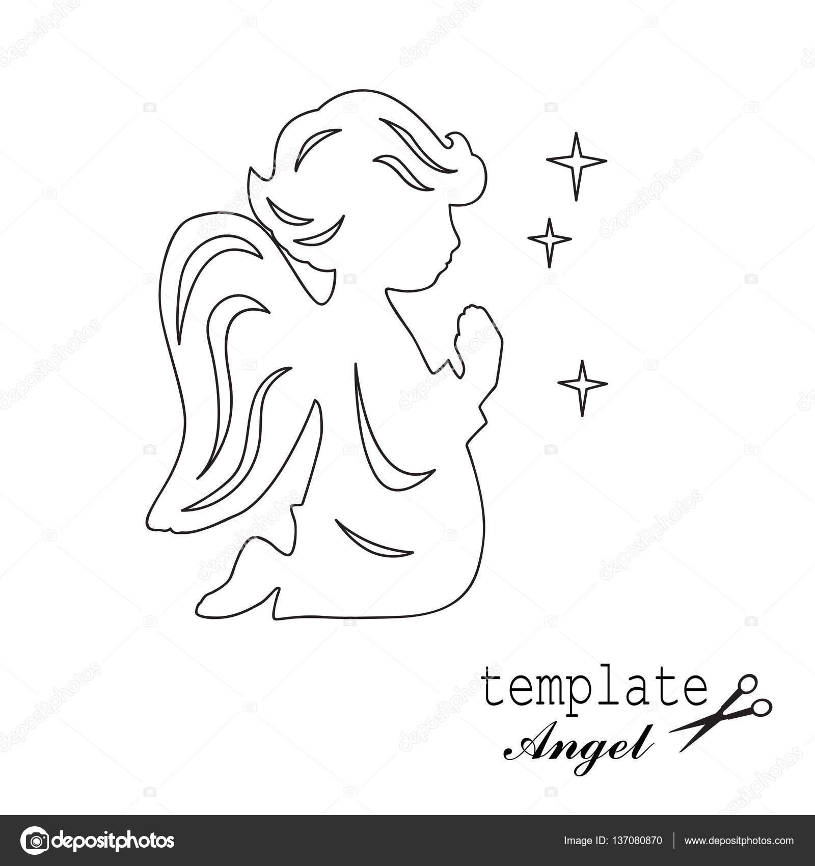 Angel de la plantilla, aislado en blanco — Archivo Imágenes ...