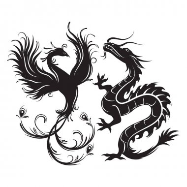 Silhouette of phoenix bird and dragon.