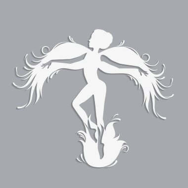 Silhouette of beautiful fairy.