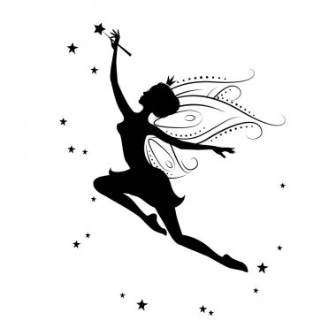 Silhouette of a beautiful fairy.