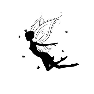 Silhouette of a beautiful fairy.
