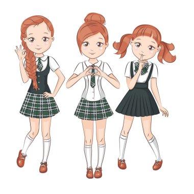 Three cute girlfriends.
